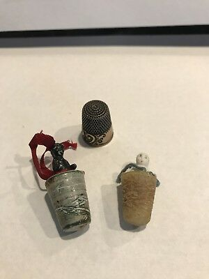 Rare Frozen Black Charlotte and Frozen Charlotte Thread Waxer and silver thimbl