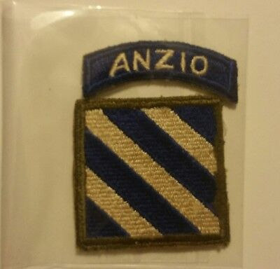 Vintage Original Army 3rd Infantry Division Italy with Anzio Tab No Glow Patch