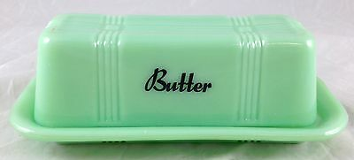 Jadite Green Glass Criss Cross Pattern 1/4 Lb Jadeite Butter Dish Black Writing