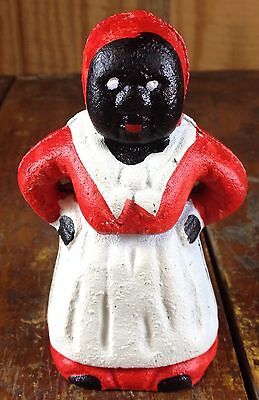 Black Americana Black Lady Classic Red White Dress Apron Cast Iron Dime Bank