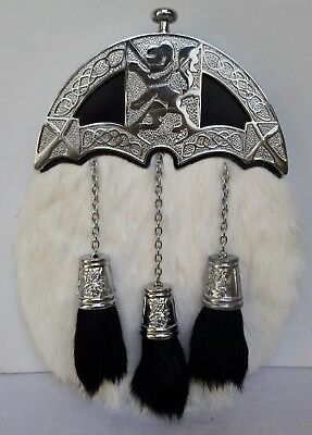 Full Dress Sporran With white Rabbit Fur Lion Celtic Design (Free Belt Included)