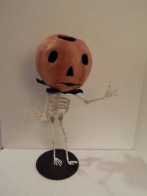 halloween folk art paper mache jack pumpkin head man w/ skeleton body-RARE