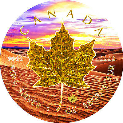 2017 1 Oz Ounce Canadian Silver Maple Leaf Coin .9999 Desert Sunset Gold Gilded