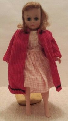 Madame Alexander Cissette Vintage Brunette Doll & Tagged Dress - Untagged Coat