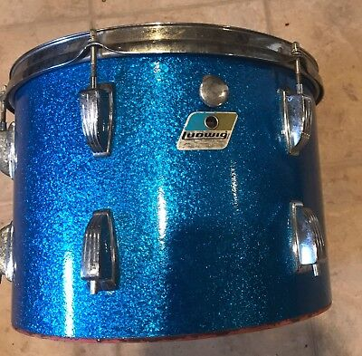 1970's Ludwig rack tom blue sparkle 14X10 6 ply Blue Olive badge project