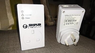 Simpler Networks 200mbps Mini Passthrough Powerline Ethernet Adapter Homeplug