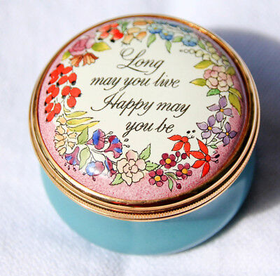 Halcyon Days LONG MAY YOU LIVE HAPPY MAY YOU BE enamel pill box