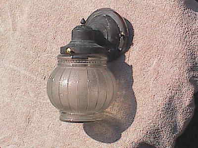 Vintage Copper Porch Light Sconce Wall Light Fixture Glass Globe WORKS !!!
