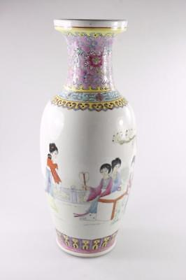 VINTAGE CHINESE FAMILLE ROSE HAND PAINTED PORCELAIN VASE marked