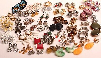 Large Vintage Earring Lot ~ 45 Pair ~ STERLING, Mexico, Many Signed