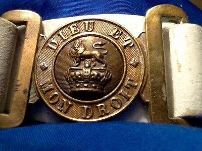 Victorian (1837-1901) British Army Leather Parade Belt & Brass Buckle,Late Reign