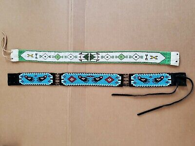 Pair of ANTIQUE NATIVE AMERICAN INDIAN BEADED BELTS