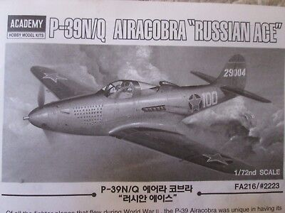 ACADEMY 1/72 BELL P-39N/Q AIRACOBRA BAGGED BUILDER'S KIT-with RAAF DECALS