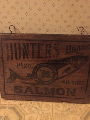 Antique Hunters BRAND SALMON  Wooden Top Lid Or Sign  San Francisco  Display
