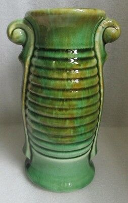 American Bisque Art Deco Ceramic Pottery Vase Ribbed Green Rust Drip Ware 7""