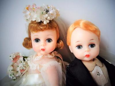 "1963 Madame Alexander Wendy BKW 8"" BRIDE GROOM Alexanderkins Dolls Wedding"