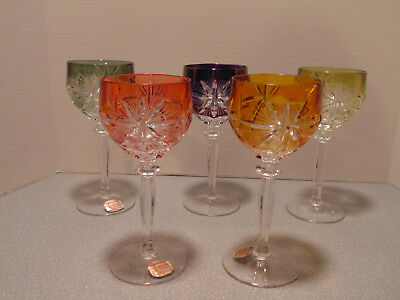 5 Hofbauer Bohemian Lead Crystal Cut To Clear Wine Glasses Hocks Goblet Germany