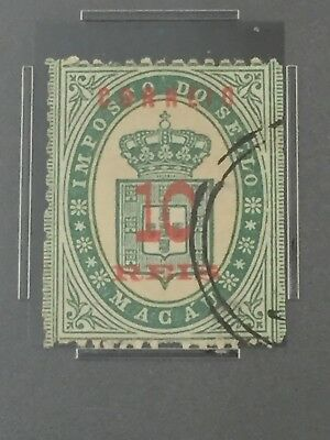 1887 Macau 10 Reis Scott #33 Straight Edge Pse