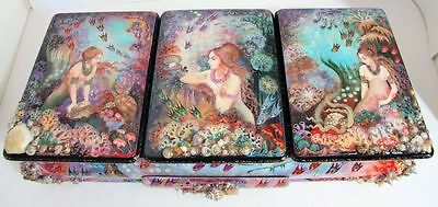 """Huge One of a Kind Khouli Russian Lacquer Box """"Mermaids"""" by Dontsova"""
