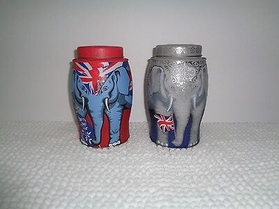 Williamson Tea Cannister British Flag Elephant Collectable Lot of 2 Empty