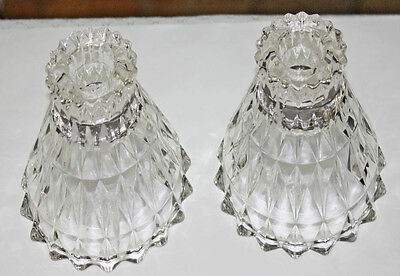 Pair of  Jeannette Windsor Depression Glass Candlesticks Candle Holders MINT