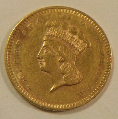 1856 US $1 One Dollar Gold Coin. Indian Princess Head. Type 3