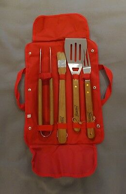 4Pc  Budweiser Barbecue Set Bbq Cooking Tools In Budweiser Carry Case