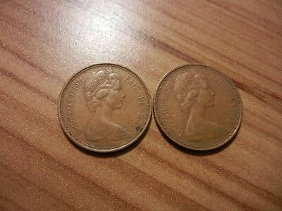 Two 2 Pence Coins dated 1971 From (Great Britain)