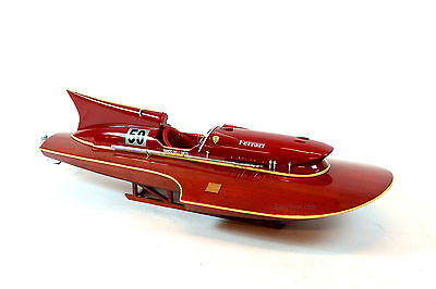 "Ferrari Hydroplane 32"" - Handcrafted Wooden Racing Boat Model"