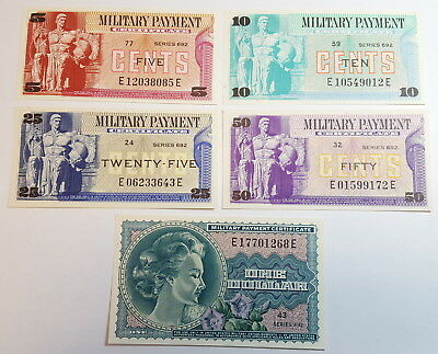 5 Cents to $ Series 692 USA MPC Military Payment Certificate 5 Note Set CU