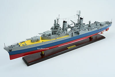 USS Indianapolis CL/CA-35 Porland-class Cruiser Wooden Ship Model Scale 1:200
