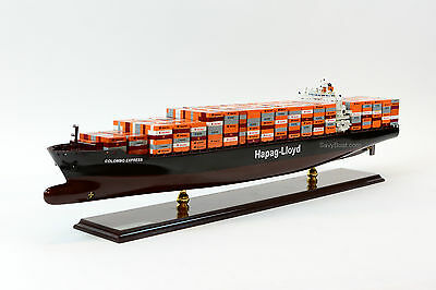 """MV Colombo Express Hapag-Lloyd Container Ship Wooden Ship Model 38"""" Scale 1:350"""