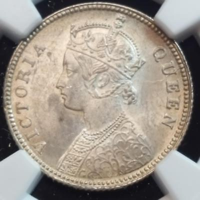 1862(C) India Silver 1/4 Rupee Gothic Victoria MS 63 NGC Blazing Coin