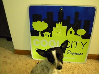 Authentic COOL CITY IN PROGRESS Road/Highway Sign Reflective Aluminum ~24x24in