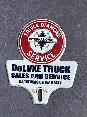 Vintage International Truck Triple Diamond Service License Plate AD Topper N J