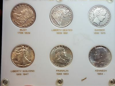 Fantastic 1830 to 1964 United States Silver Half Dollar Type Set 6 Coins