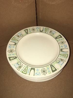 Set of 7 MCM vintage Taylorstone Cathay Atomic Starburst Bread Plates  - 6.5""