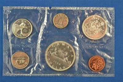 SET OF 6 1966 CANADIAN UNCIRCULATED MINT SET. SILVER DOLLAR $1 50c 25c 10c 5c 1c