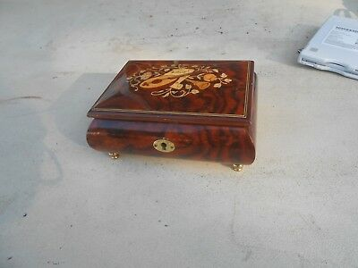 Vintage Reuge Music Box With Detailed Wood Inlay Containing a Swiss Made Movemnt