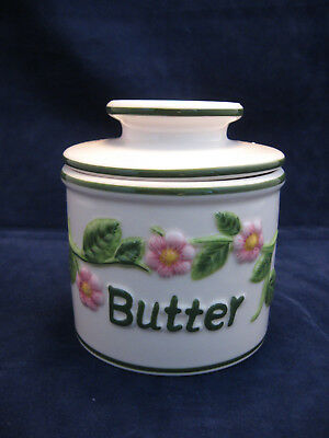 Vintage L Tremain French Stoneware Butter Bell Crock Pink & Green Floral Pattern