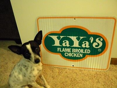 Authentic YA YA'S CHICKEN Interstate Exit Ramp Sign Reflective Aluminum~18x24