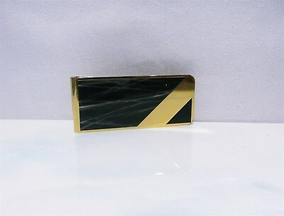 Vintage Yellow Gold Plated Black Marble Enameled Money Clip