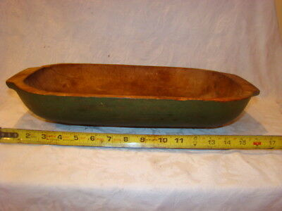 Antique Hand Scooped Wooden Bowl Orig dry Green Paint  17 3/4 Ins W/handles