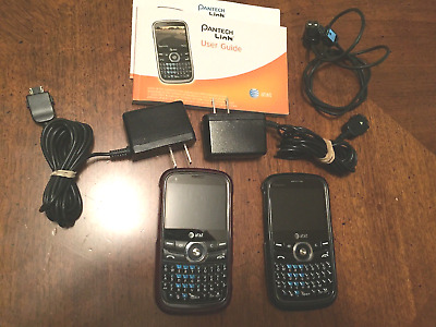 Lot of 2 Pantech Link Cell Phones Unlocked w/ chargers, gel cases