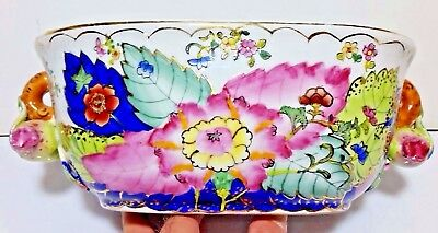 Vintage Koi Fish Bowl,Chinese Hand Painted Porcelain Pottery