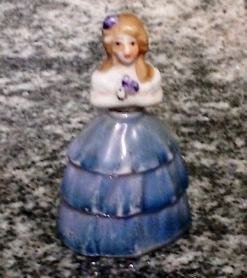 Circa 1930s Miniature Porcelain Perfume Bottle Little Lady Made in Japan