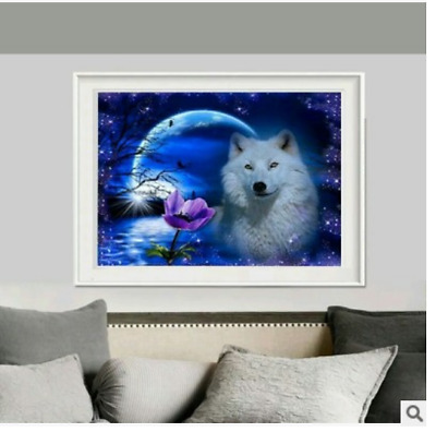 DIY 5D Diamond Embroidery month wolf Painting Cross Stitch Craft Home Decor