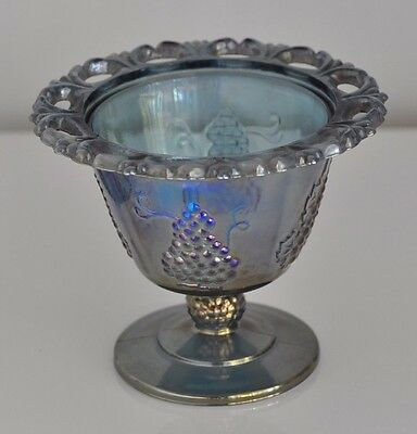 Blue Carnival Glass Compote w/ Iridescence Grape/Leaf Design