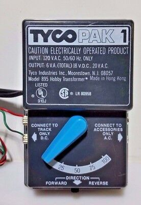 Tyco Pak 1 HO/N Scale Train Transformer/Controller/Power Supply,Model 895
