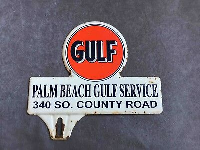 Vintage Palm Beach Florida Gulf Service Gas Station Ad License Plate Topper Oil